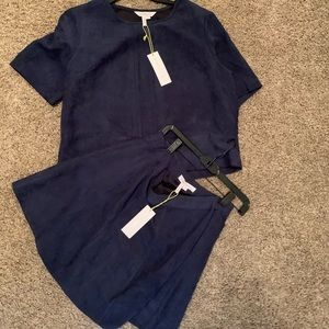 Bcbg Faux Suede top and skirt